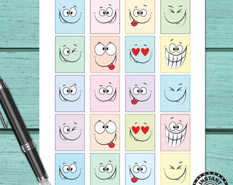 80% OFF SALE Kawaii Funny Face Planner Stickers Clip Art Printable Clipart Planner Stickers Download (nb21)