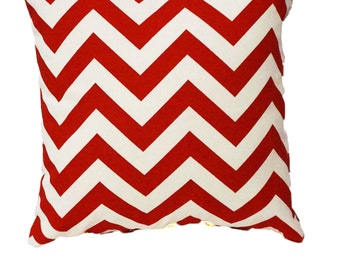 Decorative Pillow Cover- Red Chevron