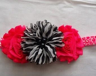 Headband, Flowers, Dark Pink
