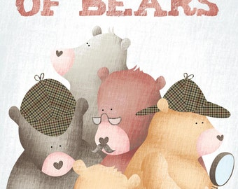 A Sleuth of Bears | Collective Nouns | Childrens Poster | Bears Illustration
