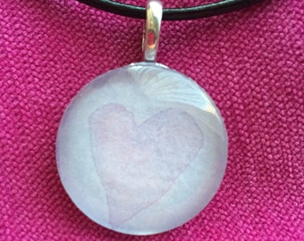 Pink Heart on Blue Original Watercolor Pendant Necklace