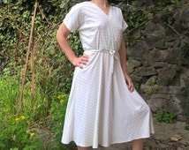 HALLOWEEN SALE 25% OFF Knit Summer Dress 80s Vintage Midi Dress Cotton Light dress Stripe pattern Summer dress Day dress Retro eighties V...