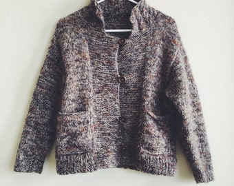 Chunky Brown Mohair Wool Cardigan Sweater