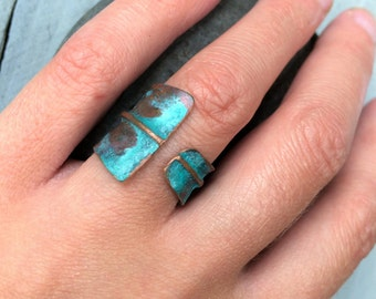 Wide Copper Band -  turquoise adjustable artistic hand forged rustic fold formed unique matte patina ring