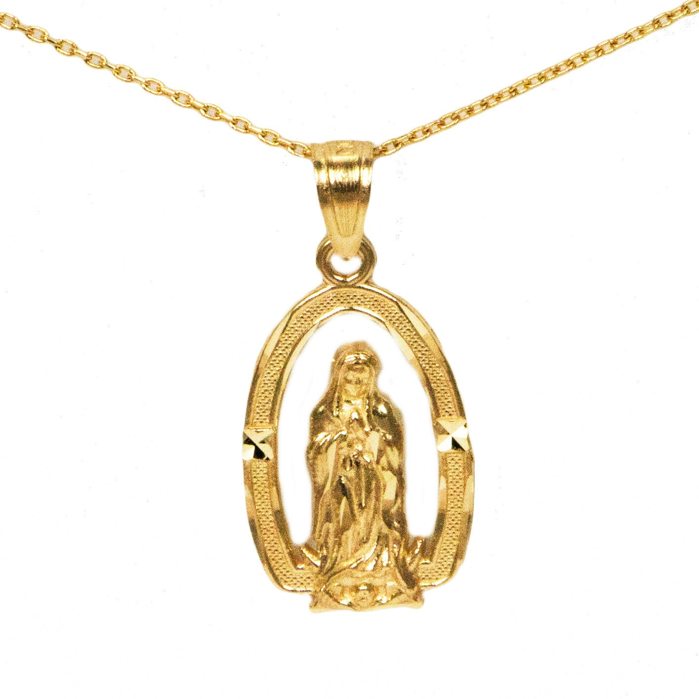 10k yellow gold virgin mary necklace