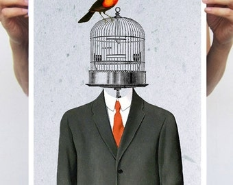 Surrealist Bird Print, Magritte Artwork, birdcage print, birdcage poster,  surrealist painting, original creation by Coco de Paris