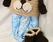 Crochet Puppy Hat, Crochet Booties, Flannel Receiving Blankets, Baby Shower Gift, Baby Blanket, Dog Hat