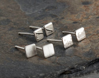 Tiny Silver Square Studs, Minimalist Earrings, Flat Square Earrings, Dainty Earrings, Stud Earrings, Silver Earrings, Handmade Earrings, 4mm