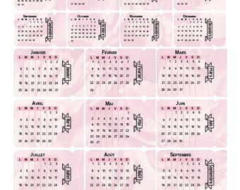 Tabs with month - 2016 - FR - EN - Pink - Blue - Grey - Multicolor - 2 sizes