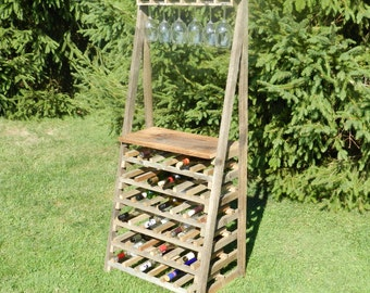 36 Wine Bottle Handmade Wooden Wine Rack Made of Rustic 100 Year Old Reclaimed Barnwood with Display Shelf and 6 Glass Top Hanger