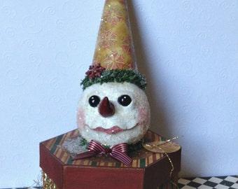 Snowman box, Paper Mache Box, Christmas Gift Box
