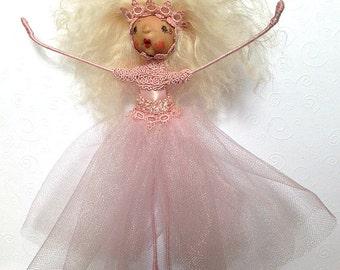 Pink Princess Fairy, Princess Doll, Doll Ornament, Hanging Fairy Ornament