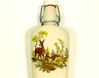 Flask Vintage Ceramic, Ceramic Bottle, Swing Top Bottle, Vintage Bottles, Old Hip Flask, Unique Flask, Unique Bottle, Collectible, Homedecor