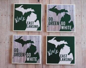 East Lansing / East Lansing Coasters / Michigan Coasters / Michigan / State Coasters / Lansing Michigan / Michigan Gift / Michigan Decor