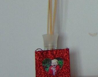 Mini Heart Red Glitter Hanging Photo Frame