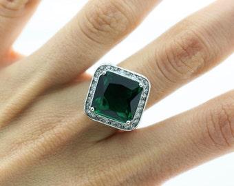 Green Tourmaline Halo Ring, Green Gemstone Silver Ring, Green Stone Ring