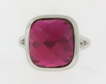 Cushion Cut Red Ruby Ring- 925 Sterling Silver Red, Stone Jewelry