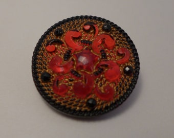 Czech glass button - red, blak - 27 mm