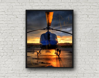 Alaska Sunset Reflections and AS350 AStar Helicopter Aviation Photograph