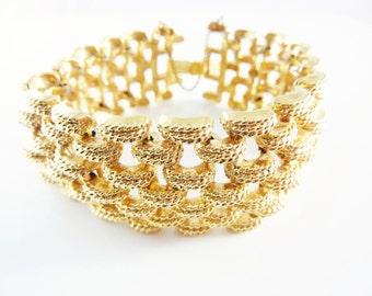 Vintage 1950s Monet Gold Cuff Bracelet Signed
