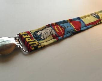 Superman Pacifier Clip/ Pacifier Clip