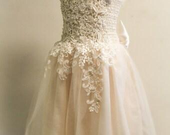 Ivory flower girl dress, Tulle flower girl dress, wedding bridesmaid dress, birthday dress, special ocassion dress