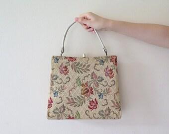 20% OFF - Vintage 1960s Flower Tapestry Handbag from Dover / American Vintage