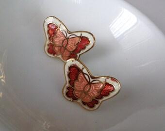 Butterfly Cloisonne Enamel Earrings Peachy Copper