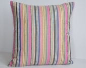 """20"""" x 20"""" Pillow - Multi Stripe Imported 100% Raw Silk Fabric from India.  Available With or Without Feather/Down Insert."""