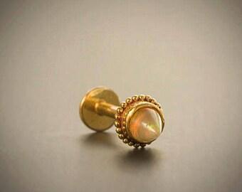 Gold Opal Labret Stud- 16g Labret- Ear Cartilage- Opal Stud- Tribal Piercing- Body Piercing Jewelry