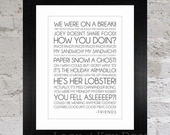 Framed Friends Quotes Print / Friends TV Show / Joey Tribbiani / Ross Geller / Phoebe Buffay / Chandler Bing / Monica Geller / Rachel Green