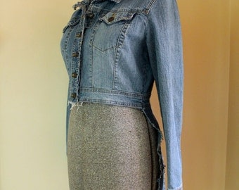Upcycled Distressed Denim Tailcoat // Steam Punk Jean Jacket