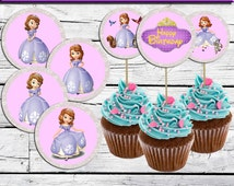 """Sofia The First Cupcake Toppers-Princess Sofia The First Birthday Party-2,5""""-printable Sofia The First  decoration Instant Digital Download"""