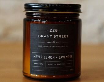 9oz Meyer Lemon + Lavendar Amber Jar Scented Soy Candle