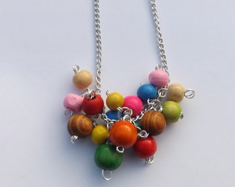 Colourful rainbow cluster bead necklace