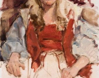 "Figure painting fine Art oil painting 18"" x 24"" impressionist colorful figure study"