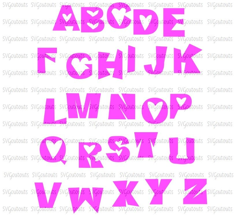 valentine heart monogram alphabet font design svg eps dxf