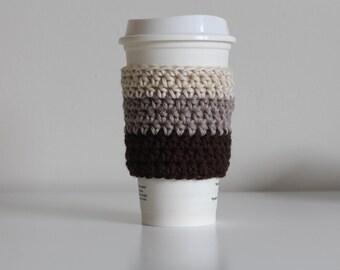 Ombre brown coffee cozy, oatmeal coffee cozy, beige coffee cozy,  coffee cup sleeve, coffee cup cozy, vegan, cotton coffee cozy, minimalist