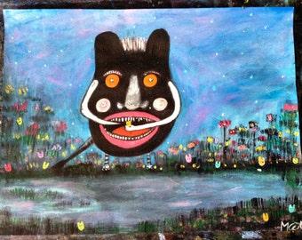 The Peep Monster ~ Original Acrylic Painting by LeanneM ~