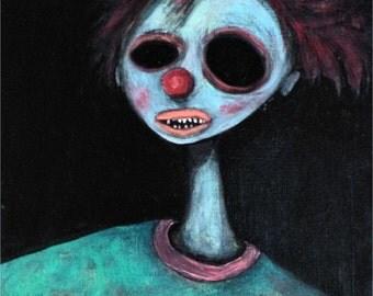 Portrait of a Clown ~ Original Acrylic Painting by LeanneM ~