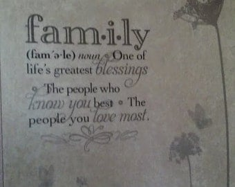 For The Love of Family Wall Decor~Heavy Vinyl Wall Tile With Heartfelt Message