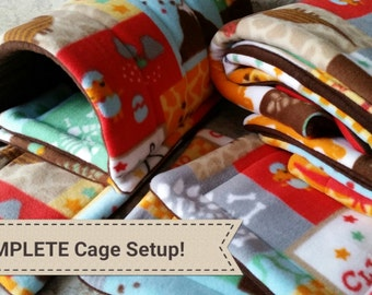 Fleece Cage Liner Set; C&C Cage Liner with UHaul; Complete Cage Set for Guinea Pigs, Hedgehogs, Rabbits, and Small Animals