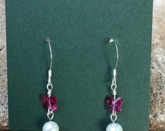 Swarovski pearl and fuchsia butterfly sterling silver earrings