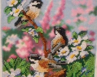 Embroidery beads picture with the image of the 'Birds'