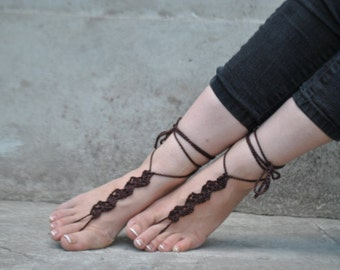 Brown barefoot sandals