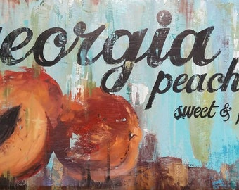 Rustic Hand Painted Sign, Peaches,Wall Display Home Decor, Vintage Hand Painted Sign