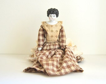 """vintage china doll 17"""" china doll antique flat top doll low brow china doll china head and breastplate china arms hands legs boots"""