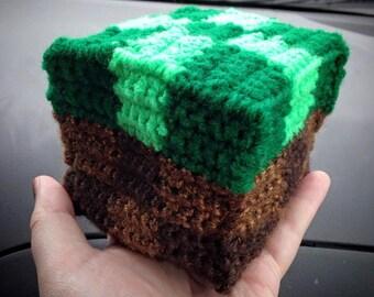 Minecraft Inspired Grass Block Amigurumi Crocheted Figure