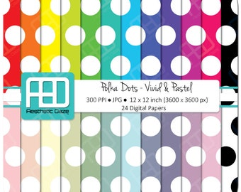 Polka Dots, digital paper, scrapbook paper, 12x12 inch, 300 DPI, pastel, vivid, rainbow color, commercial use - Instant Download