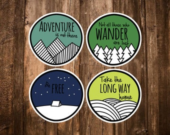 Adventure Stickers - 4 Camping Stickers - Adventure is out there/Not all those who Wander/Travel Gifts/Wilderness/Travelers Notebook/Journal